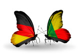 Two butterflies with flags Germany and Benin