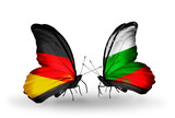 Two butterflies with flags Germany and Bulgaria