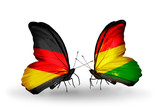 Two butterflies with flags Germany and Bolivia