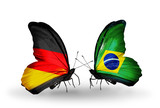 Two butterflies with flags Germany and Brazil
