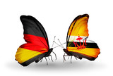 Two butterflies with flags Germany and Brunei