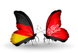 Two butterflies with flags Germany and Waziristan