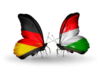 Two butterflies with flags Germany and Hungary