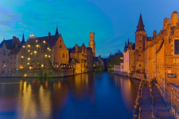 Bruges / Brugge, Rozenhoedkaai in Blue Hour