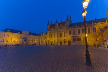 Bruges Brugge Town Hall in Blue Hour