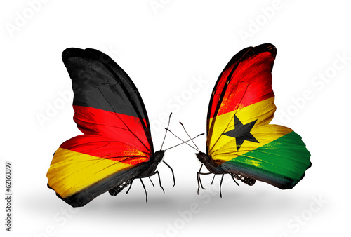 Two butterflies with flags Germany and Ghana