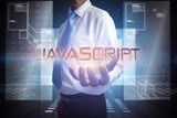 Businessman presenting the word javascript