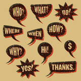 Speech bubbles vintage print