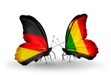 Two butterflies with flags Germany and Mali