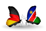 Two butterflies with flags Germany and Namibia