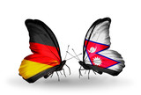 Two butterflies with flags Germany and Nepal
