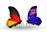 Two butterflies with flags  Germany and New Zealand