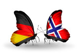 Two butterflies with flags Germany and Norway