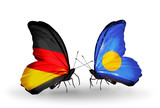 Two butterflies with flags Germany and Palau