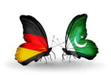 Two butterflies with flags Germany and Pakistan