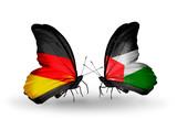 Two butterflies with flags Germany and Palestine