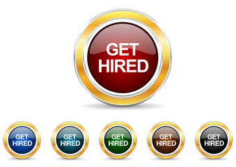 get hired icon vector set