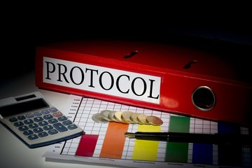 Protocol on red business binder