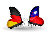 Two butterflies with flags Germany and Taiwan