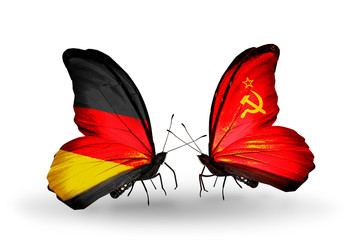 Two butterflies with flags  Germany and Soviet Union