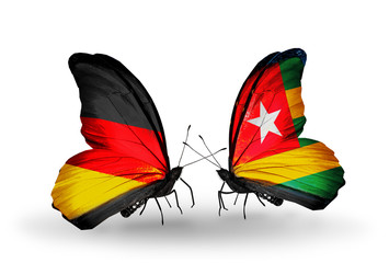 Two butterflies with flags Germany and Togo