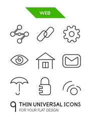 Web administration thin line icon set