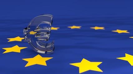 Euro Symbol ais Glas auf Europa-Flagge