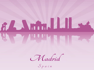 Madrid skyline in purple radiant orchid
