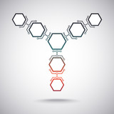 Communication of seven hexagonal cells. gradient