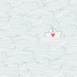 Seamless pattern with waves and paper ship with heart.