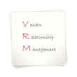 Conceptual hand drawn VRM acronym written on piece of paper.