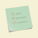 Conceptual hand drawn SRM acronym written on piece of paper.