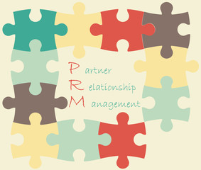 Vector illustration of puzzles with PRM acronym.