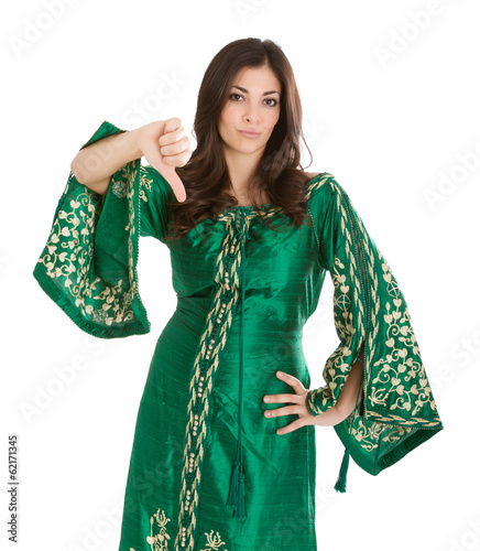woman in african dress thumbs down