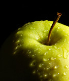 wet green apple detail