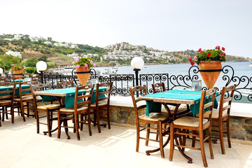 The terrace near beach at luxury hotel, Bodrum, Turkey