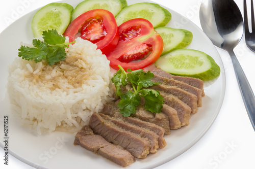 baked pork with jasmine rice
