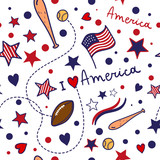 Pattern with American national  symbols