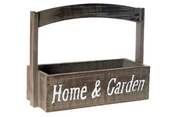 Holzkiste Home and Garden isoliert