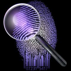 Lupe, Fingerabdruck QR-Code, UV-Licht, realistischer Ausschnitt