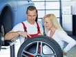 Car mechanic explains the tread depth of a tire