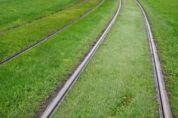 alsace, tramway rail in Strasbourg