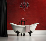 Luxury vintage classic red bathtub