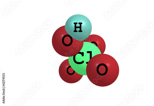 Perchloric acid molecular structure isolated on white