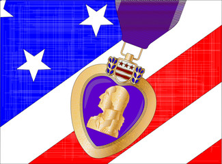 Flag and Purple Heart