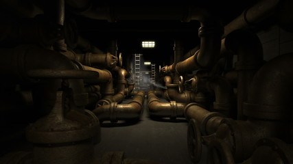 Industrial underground tunnel with piping system.