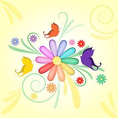sfondo decorazione margherita arcobaleno e farfalle