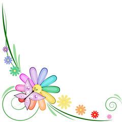 Decorazione margherita arcobaleno con farfalla occhi