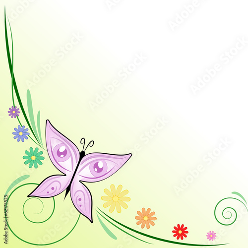 Vettoriale sfondo farfalla occhi e margherite colorate for Foto farfalle colorate