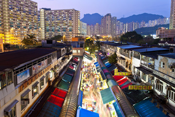 Local market in Hong Kong at night